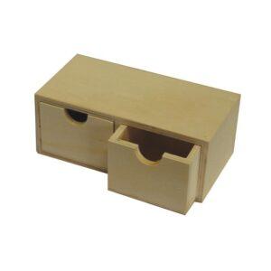 cutie din lemn cu 2 sertare-18 x9,2 x 7,0cm-gtatarakis.com